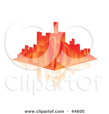 Clipart Illustration of a Red And Orange City Skyline On A Reflective White Surface by MilsiArt