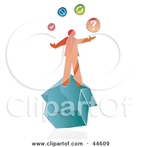 Clipart Illustration of an Orange Businessman On A House, Juggling His Options by MilsiArt