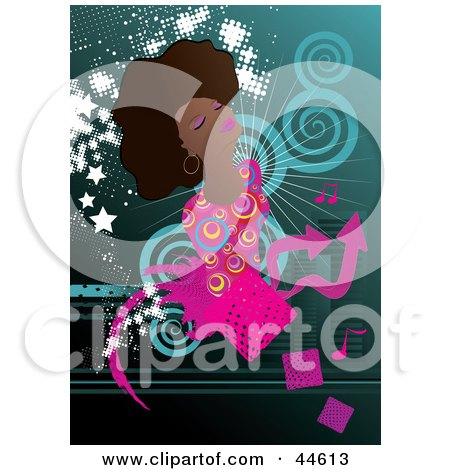 Clipart Illustration of a Beautiful Black Woman Wearing Stylish Clothes by MilsiArt