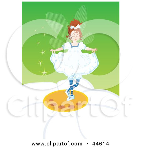 Clipart Illustration of a Pretty Little Fairy Dancing On A Daisy by MilsiArt