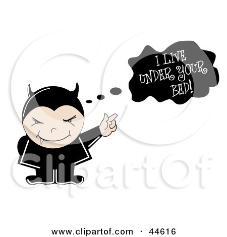 Clipart Illustration of a Little Vampire In Black, Pointing To A Text Cloud by MilsiArt