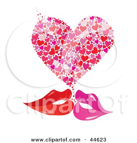 Pair Of Red And Pink Female Lips Kissing With A Heart Posters, Art Prints