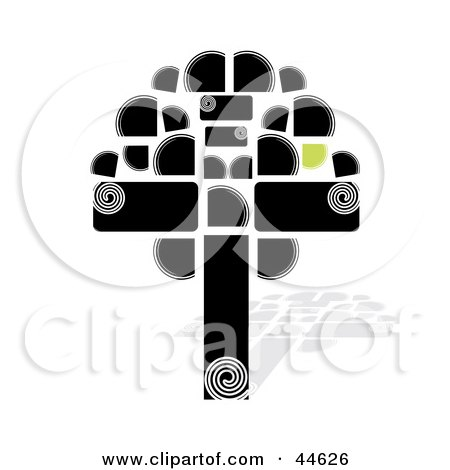 Clipart Illustration of a Black Tree Formed Of Abstract Shapes by MilsiArt