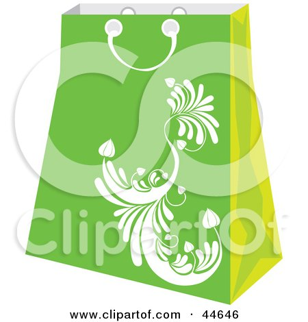 Clipart Illustration of a Green Shopping Bag With A White Scroll Design by MilsiArt