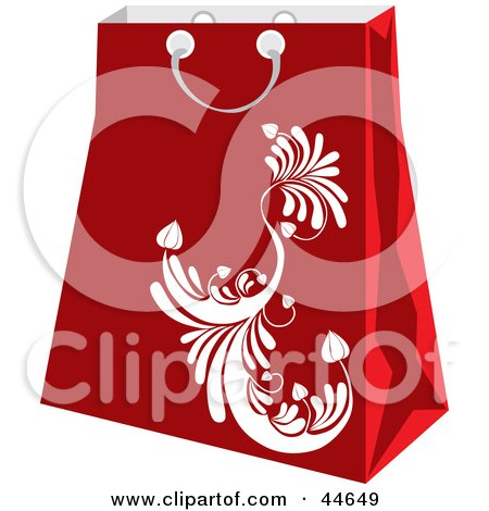 Clipart Illustration of a Red Shopping Bag With A White Scroll Design by MilsiArt