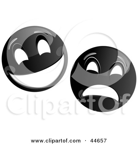 Clipart Illustration of Two Black Theater Mask Emoticons by MilsiArt