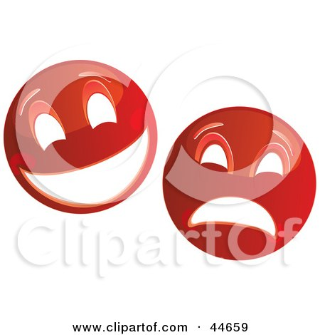 Clipart Illustration of Two Red Theater Mask Emoticons by MilsiArt