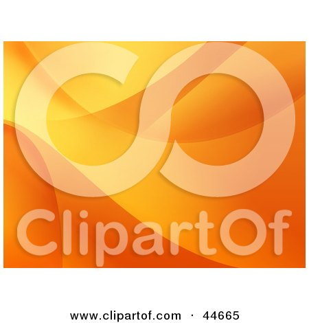 Clipart Illustration of an Orange Website Background Of Flowing Waves by oboy