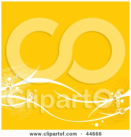 Clipart Illustration of a Yellow Background With Sparkling White Branches And Flowers by oboy
