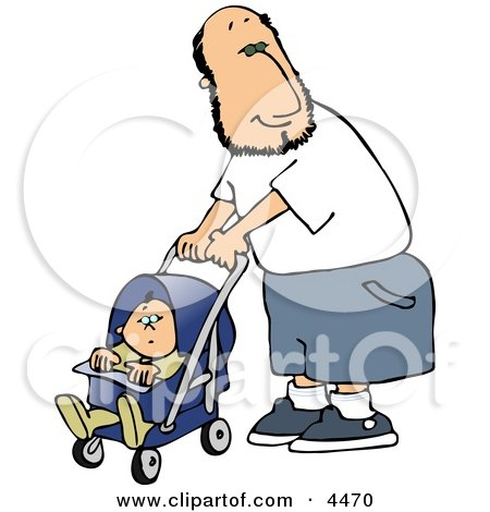 Happy Single Father Pushing His Baby Boy In A Stroller Clipart