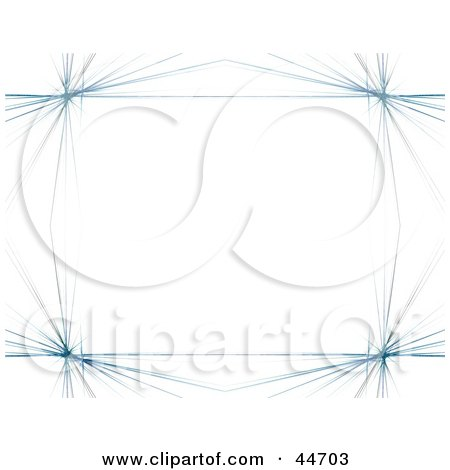 Clipart Illustration of a Blue Fractal Border On White by oboy
