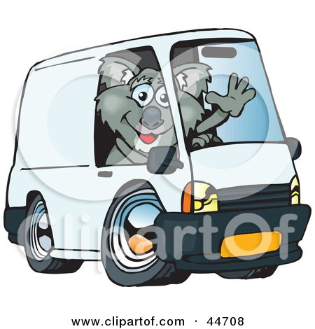 Clipart Illustration of a Friendly Koala Waving And Driving A White Delivery Van With Space On The Side For You To Insert Text by Dennis Holmes Designs