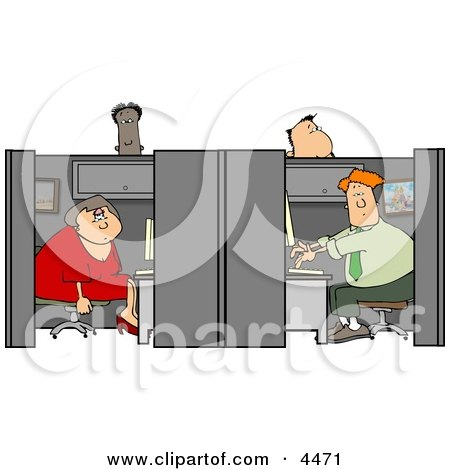 Customer Service People Working in Their Cubicles Clipart by djart