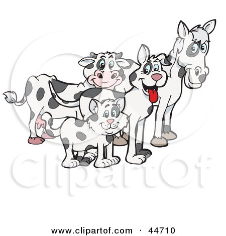 Clipart Illustration of a Cloned Matching Cat, Dog, Horse And Cow by Dennis Holmes Designs