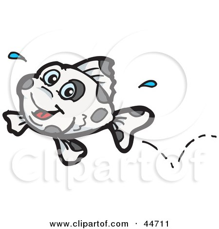 Clipart Illustration of a Spotted Cloned Leaping Fish With A Dalmatian Pattern by Dennis Holmes Designs