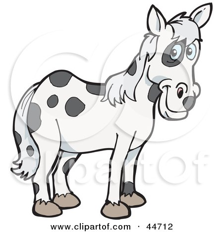 Clipart Illustration of a Spotted Cloned Horse With A Dalmatian Coat Pattern by Dennis Holmes Designs