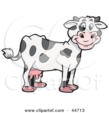 Clipart Illustration of a Spotted Cloned Dairy Cow With A Dalmatian Coat Pattern by Dennis Holmes Designs