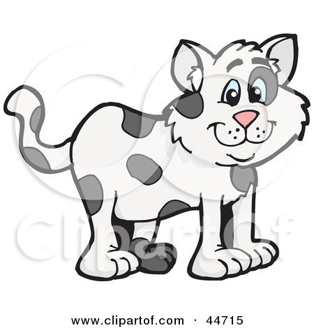 Clipart Illustration of a Spotted Cloned Cat With A Dalmatian Coat Pattern by Dennis Holmes Designs