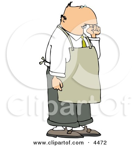 Restaurant Food Handler Wearing an Apron and Picking His Nose for Boogers Clipart by djart