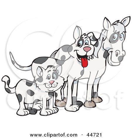Clipart Illustration of a Cloned Matching Cat, Dog And Horse by Dennis Holmes Designs