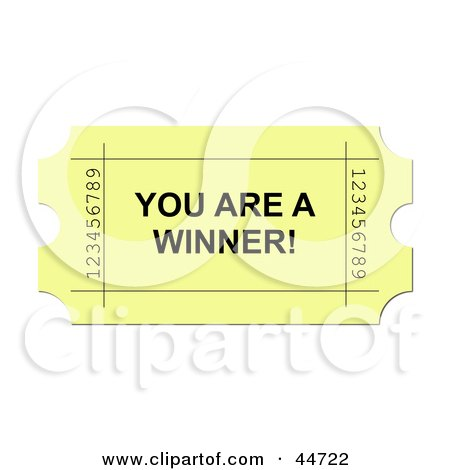 Royalty-Free (RF) Clipart Illustration of a Yellow You Are A Winner Ticket by oboy