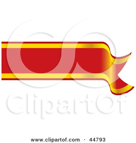 Royalty-free (RF) Clipart Illustration of a Blank Red And Yellow Waving Banner by Lal Perera