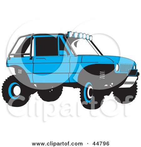 Royalty-free (RF) Clipart Illustration of a Blue Soft Top Jeep SUV by Lal Perera