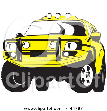 Royalty-free (RF) Clipart Illustration of a Yellow Jeep SUV With a Metal Grill by Lal Perera