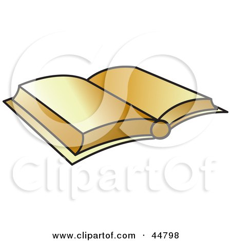 Royalty-free (RF) Clipart Illustration of an Open Golden Bible Or Text Book by Lal Perera