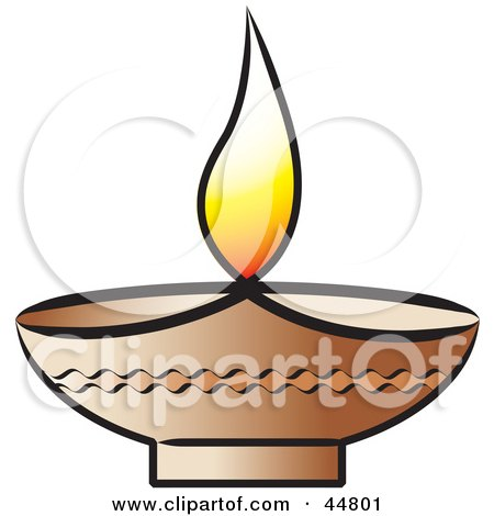 Royalty-free (RF) Clipart Illustration of a Glowing Oil Lamp With a Flame by Lal Perera