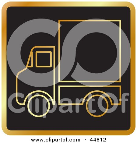 Royalty-free (RF) Clipart Illustration of a Golden Delivery Service Truck Outline by Lal Perera