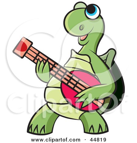 Royalty-free (RF) Clipart Illustration of a Happy Blue Eyed Green Tortoise Character Playing A Guitar by Lal Perera