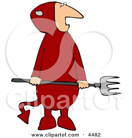 Evil Halloween Devil Wearing a Costume and Holding a Pitchfork Clipart by djart