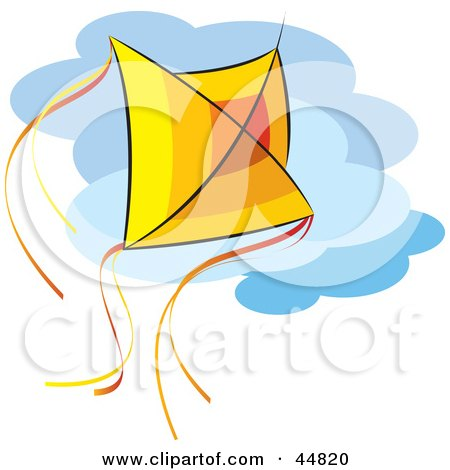 Red, Orange And Yellow Kite Flying Against A Cloudy Sky Posters, Art Prints