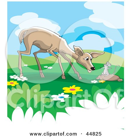 Royalty-free (RF) Clipart Illustration of a Wild Rat Talking To A Deer In A Meadow by Lal Perera