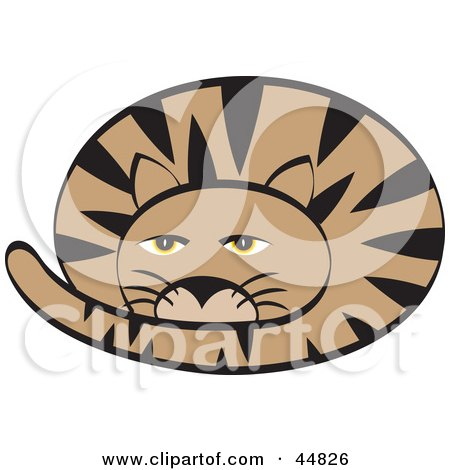 44826-Royalty-Free-RF-Clipart-Illustration-Of-A-Groggy-Curled-Up-Brown-Cat-With-Black-Stripes.jpg