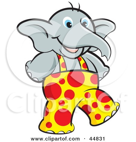 Royalty-free (RF) Clipart Illustration of a Young Elephant Wearing Spotted Overalls And Walking Upright by Lal Perera