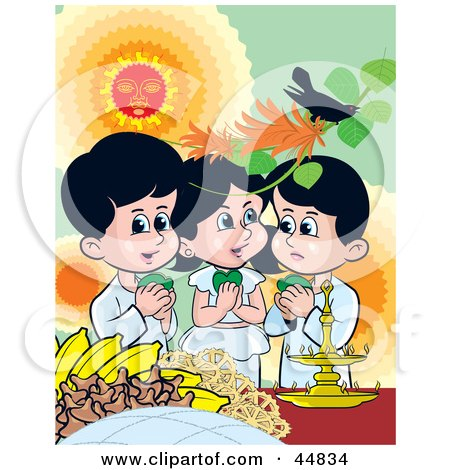 Royalty-free (RF) Clipart Illustration of Three  Sinhalese Children Celebrating New Years by Lal Perera