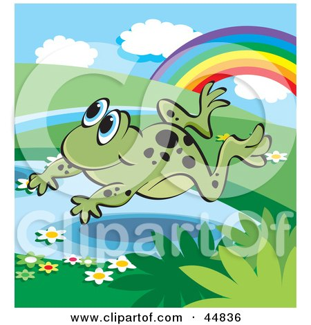 Royalty-free (RF) Clipart Illustration of a Spotted Green Froggy Character Leaping Over A Pond Near A Rainbow by Lal Perera