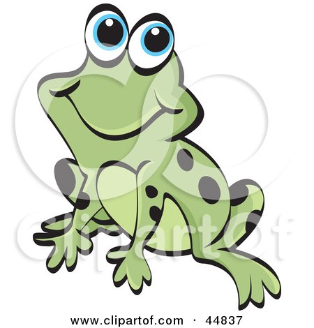 Royalty-free (RF) Clipart Illustration of a Smiling Spotted Green Froggy Character by Lal Perera