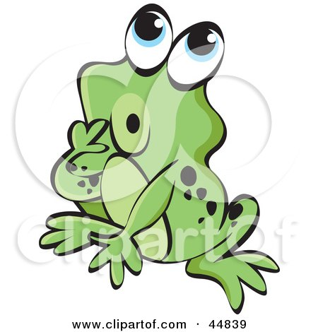 Royalty-free (RF) Clipart Illustration of a Curious Spotted Green Froggy Character by Lal Perera