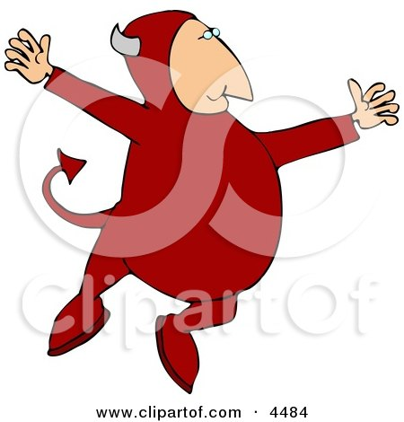 Devil Jumping Up In the Air Clipart by djart