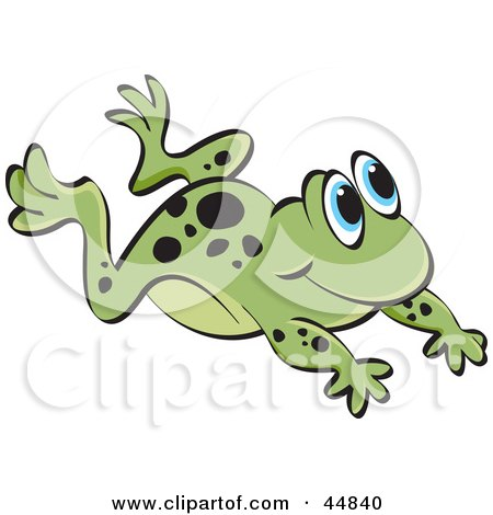 Royalty-free (RF) Clipart Illustration of a Leaping Spotted Green Froggy Character by Lal Perera