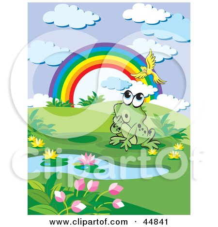 Royalty-free (RF) Clipart Illustration of a Curious Spotted Green Froggy Character Near A Rainbow And Pond, Watching A Bird by Lal Perera