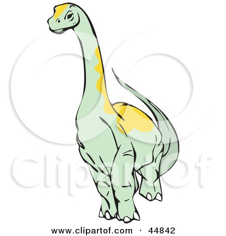 Royalty-free (RF) Clipart Illustration of a Pale Green Apatosaurus Brontosaurus Dinosaur by xunantunich