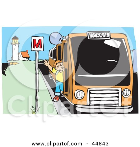 Royalty-free (RF) Clipart Illustration of a Happy Boy Waving While Getting Off Of A Bus Near A Lighthouse by xunantunich