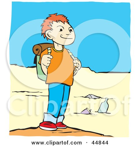 Royalty-free (RF) Clipart Illustration of a Boy Grinning And Standing On A Beach While Hiking by xunantunich
