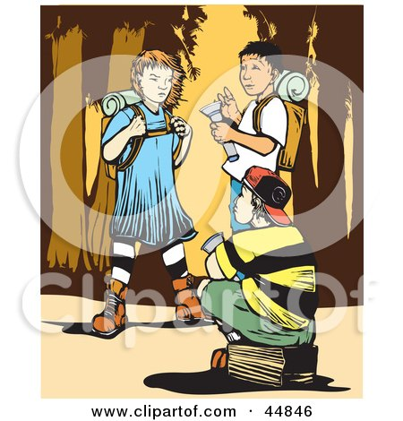 Girl And Two Boys Hiking In The Wilderness Posters, Art Prints