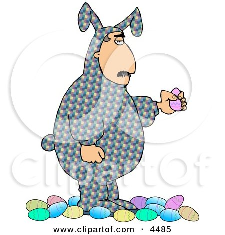Man Wearing an Easter Costume and Holding a Decorated Easter Egg Clipart by djart