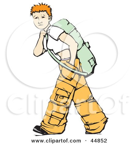 Royalty-free (RF) Clipart Illustration of a Short Haired Teenage Girl Wearing Baggy Pants And Backpacking by xunantunich